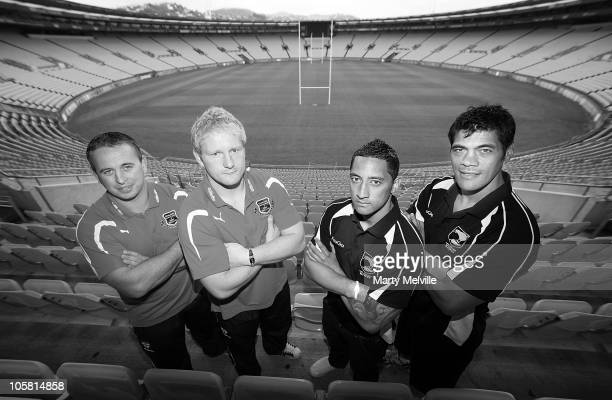 Coach of England Steve McNamara captain James Graham of England captain Benji Marshall of the Kiwis and coach of the Kiwis Stephen Kearney pose...