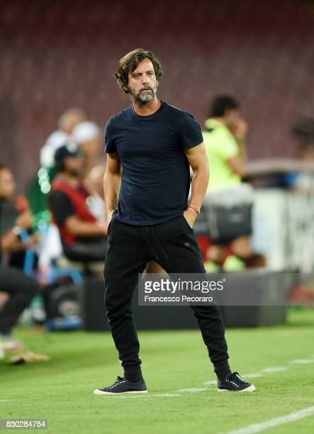 Coach of Espanyol Quique Sanchez Flores looks on during the preseason friendly match between SSC Napoli and Espanyol at Stadio San Paolo on August 10...