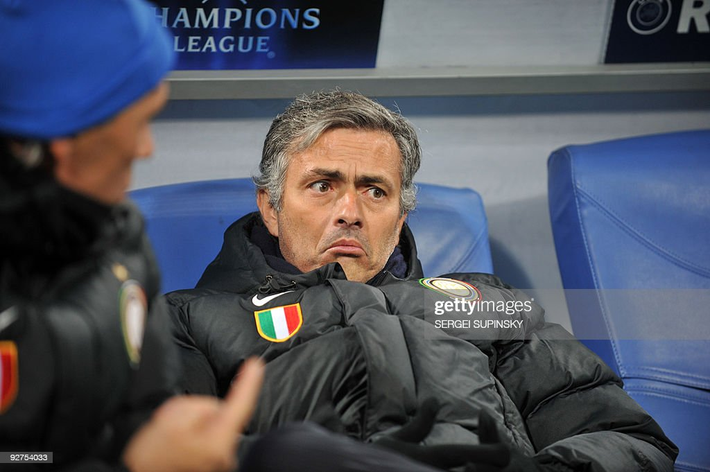 Coach of FC Inter Jose Mourinho reacts during UEFA Champions League, Group F football match with FC Dynamo in Kiev on November 4, 2009. Milan won 2-1.