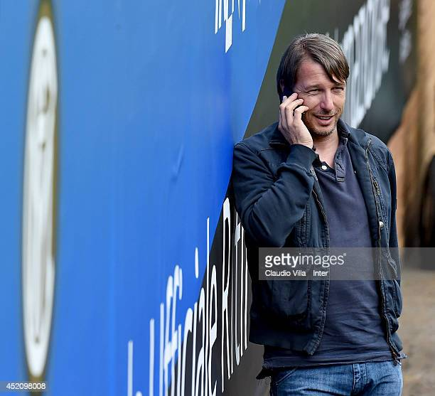 Coach of FC Inter 'Primavera' Stefano Vecchi attends FC Internazionale Milano training session on July 13 2014 in Pinzolo near Trento Italy