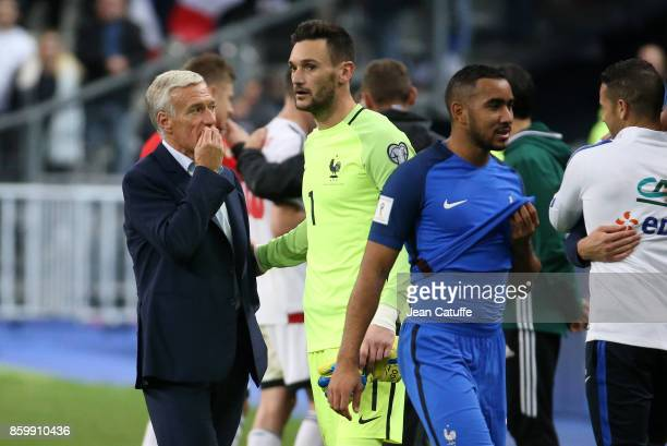 Coach of France Didier Deschamps goalkeeper Hugo Lloris Dimitri Payet following the FIFA 2018 World Cup Qualifier between France and Belarus at Stade...