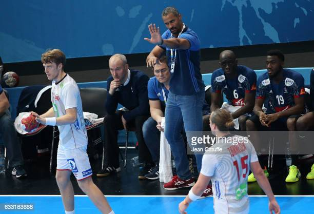 Coach of France Didier Dinart gestures during the 25th IHF Men's World Championship 2017 Final between France and Norway at Accorhotels Arena on...