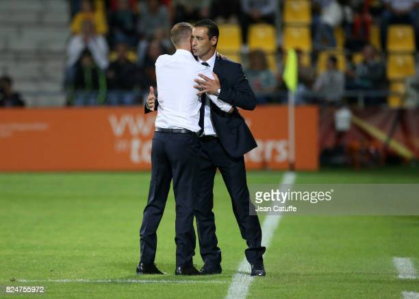 Coach of France Olivier Echouafni greets coach of England Mark Sampson following the UEFA Women's Euro 2017 quarter final match between England and...