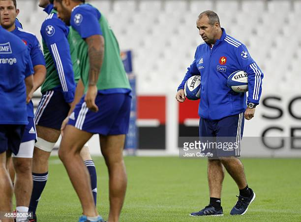 Coach of France Philippe SaintAndre looks on during France captain's run on the eve of the international friendly match between France and Fiji on...