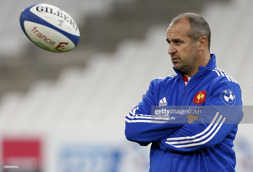 Coach of France <a gi-track='captionPersonalityLinkClicked' href=/galleries/search?phrase=Philippe+Saint-Andre&family=editorial&specificpeople=2172154 ng-click='$event.stopPropagation()'>Philippe Saint-Andre</a> looks on during France captain's run on the eve of the international friendly match between France and Fiji on November 7, 2014 in Marseille, France.
