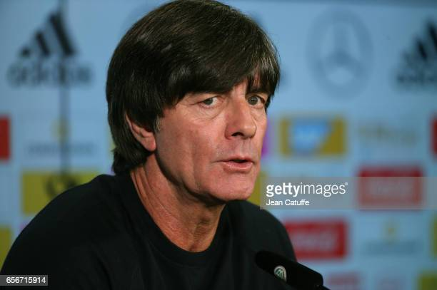 Coach of Germany Joachim Loew answers to the media following the international friendly match between Germany and England at Signal Iduna Park on...