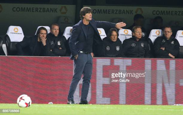 Coach of Germany Joachim Loew gestures during the international friendly match between Germany and England at Signal Iduna Park on March 22 2017 in...