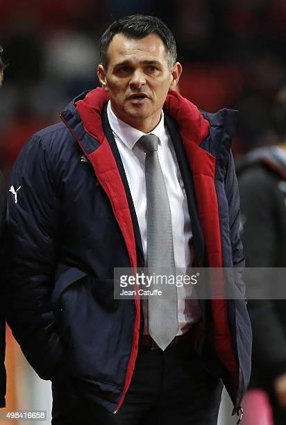 Coach of Girondins de Bordeaux Willy Sagnol gestures during the French Ligue 1 match between Stade Rennais and Girondins de Bordeaux at Roazhon Park...