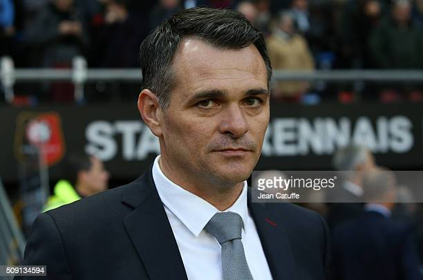 Coach of Girondins de Bordeaux Willy Sagnol looks on during the French Ligue 1 match between Stade Rennais and Girondins de Bordeaux at Roazhon Park...