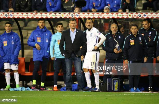 Coach of Greece Michael Skibbe and Kostas Mitroglou look on during the FIFA 2018 World Cup Qualifier between Belgium and Greece at Stade Roi Baudouin...