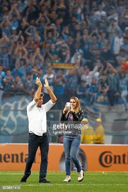 Coach of Gremio Renato Gaucho and his daughter Carolina Portaluppi after the match Gremio v Cruzeiro as part of Copa do Brasil SemiFinals 2016 at...