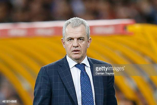 Coach of Japan Javier Aguirre looks on during the 2015 Asian Cup match between Japan and Jordan at AAMI Park on January 20 2015 in Melbourne Australia