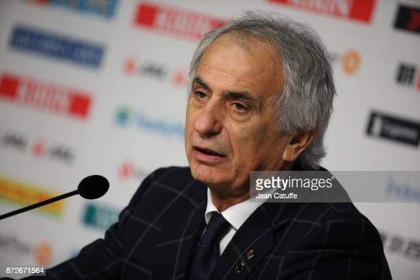 Coach of Japan Vahid Halilhodzic answers to the media following the international friendly match between Japan and Brazil at Stade Pierre Mauroy on...