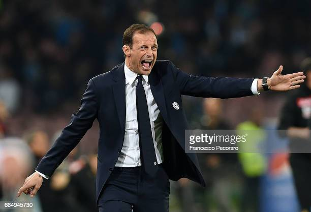 Coach of Juventus FC Massimiliano Allegri gestures during the TIM Cup match between SSC Napoli and Juventus FC at Stadio San Paolo on April 5 2017 in...