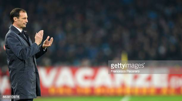 Coach of Juventus Massimiliano Allegri claps during the Serie A match between SSC Napoli and Juventus at Stadio San Paolo on December 1 2017 in...