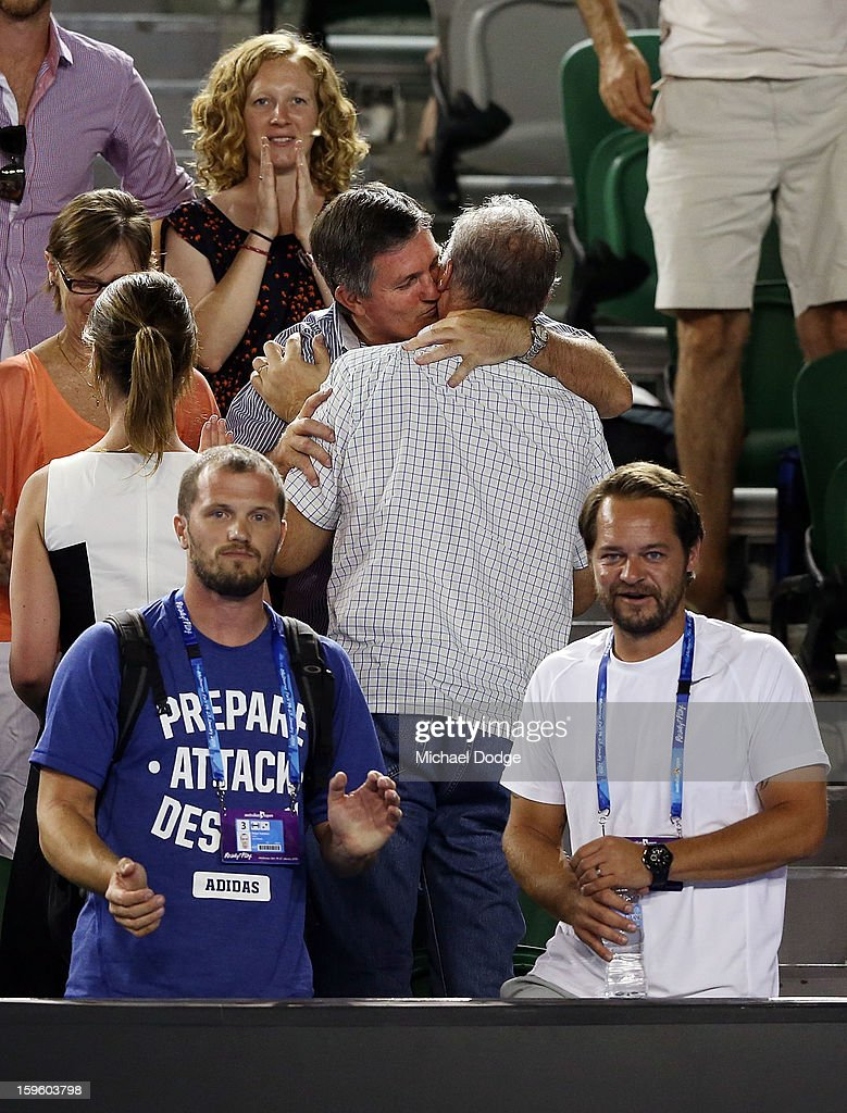 Coach of Laura Robson of Great Britain, Zeljko Krajan (R), and support team celebrate the win during her second round match against Petra Kvitova of the Czech Republic during day four of the 2013 Australian Open at Melbourne Park on January 17, 2013 in Melbourne, Australia.