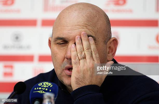 Coach of Lille Frederic Antonetti answers to the media following the French Ligue 1 match between Lille OSC and Olympique Lyonnais at Stade...
