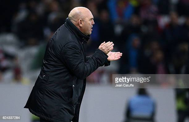 Coach of Lille Frederic Antonetti looks on during the French Ligue 1 match between Lille OSC and Olympique Lyonnais at Stade PierreMauroy on November...