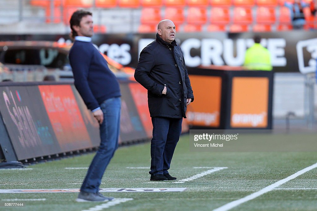 Coach of Lille Frederic Antonetti of Lille during the French Ligue 1 match between Fc Lorient and Lille OSC at Stade du Moustoir on April 30 2016 in...