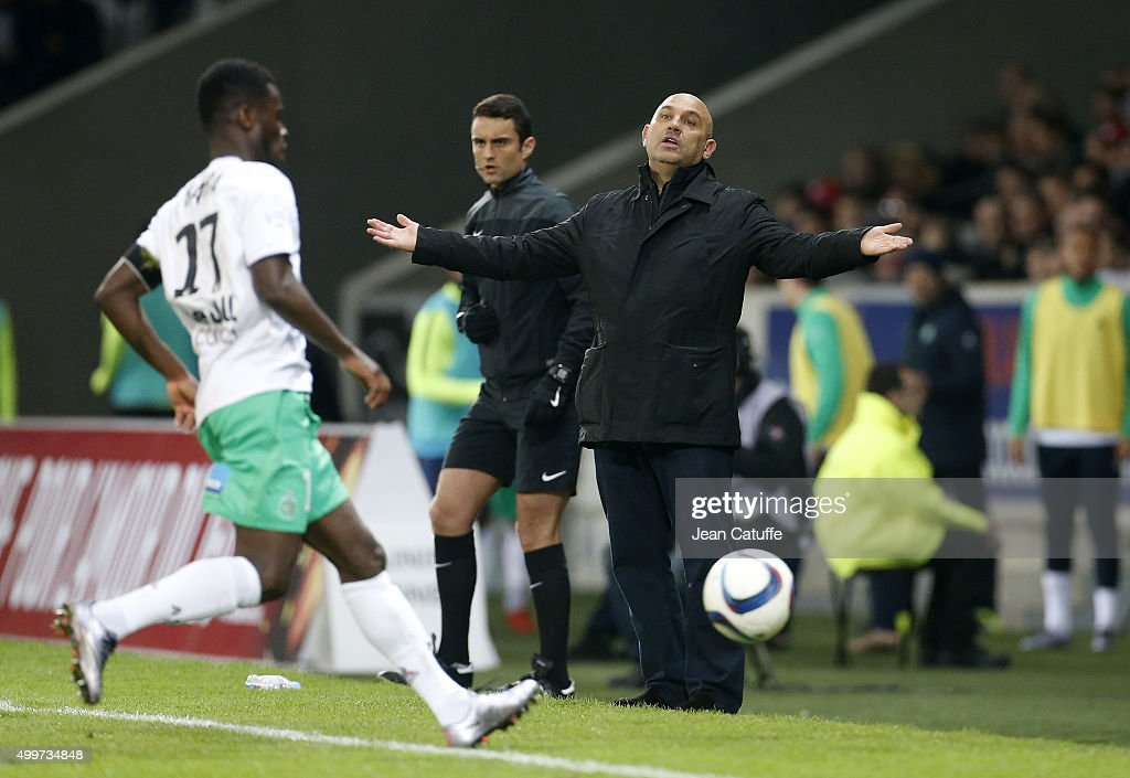 Coach of Lille Frederic Antonetti reacts during the French Ligue 1 match between Lille OSC (LOSC) and AS Saint-Etienne (ASSE) at Stade Pierre Mauroy on December 2, 2015 in Lille, France.