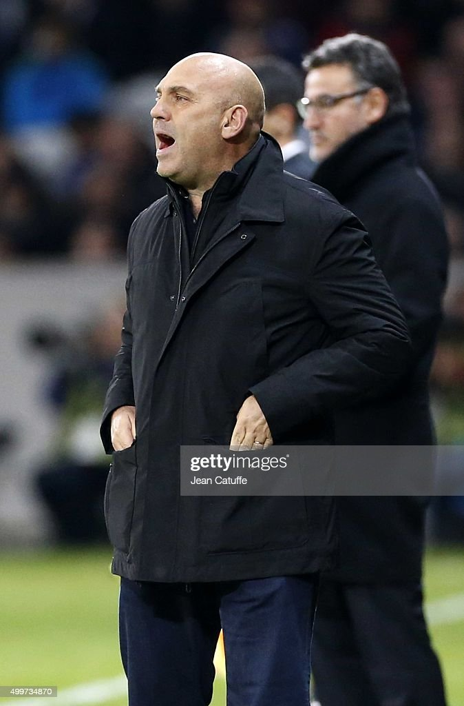 Coach of Lille <a gi-track='captionPersonalityLinkClicked' href=/galleries/search?phrase=Frederic+Antonetti&family=editorial&specificpeople=865797 ng-click='$event.stopPropagation()'>Frederic Antonetti</a> reacts during the French Ligue 1 match between Lille OSC (LOSC) and AS Saint-Etienne (ASSE) at Stade Pierre Mauroy on December 2, 2015 in Lille, France.