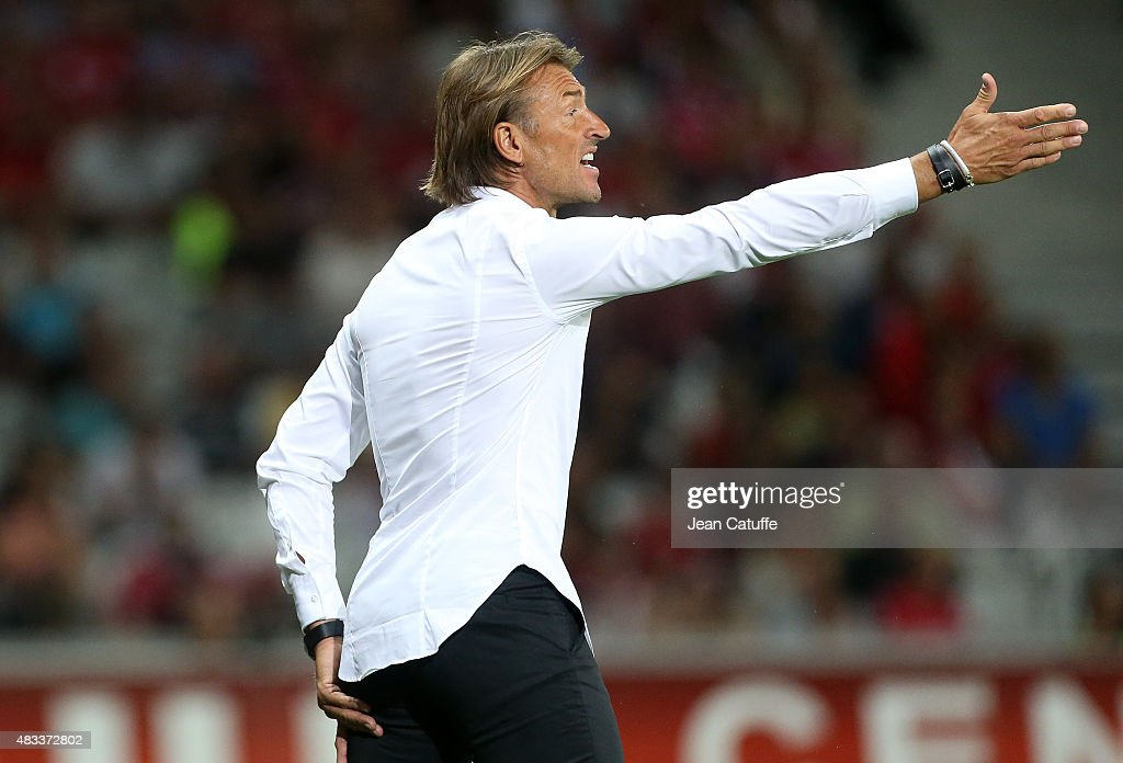 Coach of Lille <a gi-track='captionPersonalityLinkClicked' href=/galleries/search?phrase=Herve+Renard&family=editorial&specificpeople=2789238 ng-click='$event.stopPropagation()'>Herve Renard</a> reacts during the French Ligue 1 match between Lille OSC (LOSC) and Paris Saint-Germain (PSG) at Grand Stade Pierre Mauroy on August 7, 2015 in Lille, France.