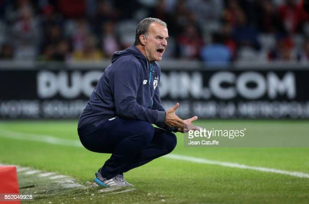 Coach of Lille OSC Marcelo Bielsa during the French Ligue 1 match between Lille OSC and AS Monaco at Stade Pierre Mauroy on September 22 2017 in...