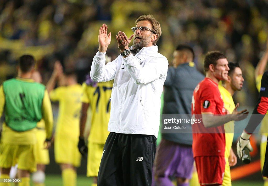 Coach of Liverpool Jurgen Klopp reacts after the UEFA Europa League semi final first leg match between Villarreal CF and Liverpool FC at Estadio El Madrigal stadium on April 28, 2016 in Villarreal, Spain.