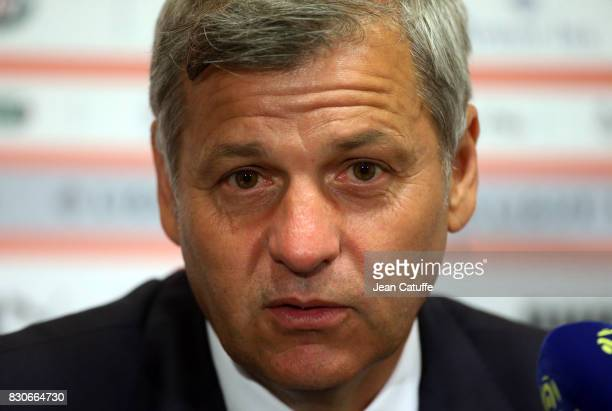 Coach of Lyon Bruno Genesio answers to the media following the French Ligue 1 match between Stade Rennais and Olympique Lyonnais at Roazhon Park on...
