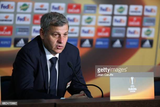Coach of Lyon Bruno Genesio answers to the media following the UEFA Europa League semi final second leg match between Olympique Lyonnais and Ajax...
