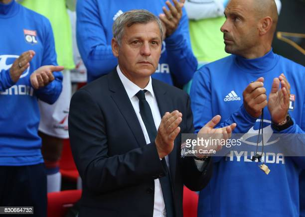 Coach of Lyon Bruno Genesio during the French Ligue 1 match between Stade Rennais and Olympique Lyonnais at Roazhon Park on August 11 2017 in Rennes...