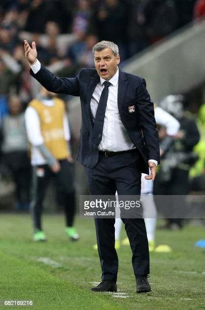 Coach of Lyon Bruno Genesio during the UEFA Europa League semi final second leg match between Olympique Lyonnais and Ajax Amsterdam at Parc OL on May...