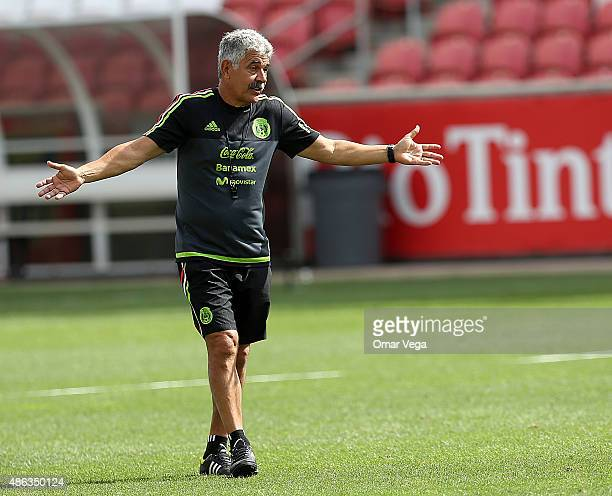 Coach of Mexico Ricardo Ferretti gestures during a Mexico training session at Rio Tinto Stadium on September 03 2015 in Sandy United States