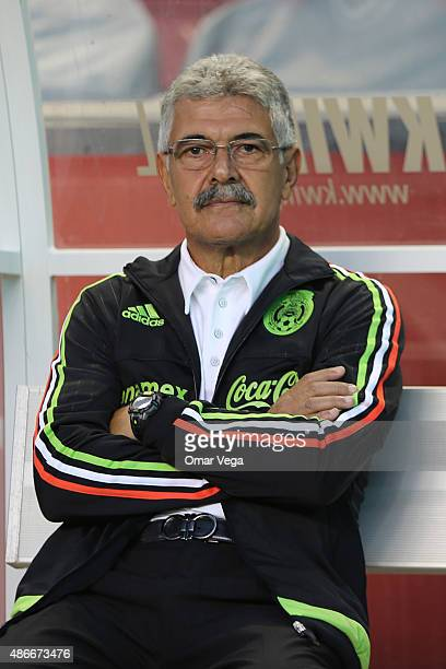 Coach of Mexico Ricardo Ferretti looks on during a friendly match between Mexico and Trinidad and Tobago at Rio Tinto Stadium on September 04 2015 in...