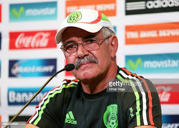 Coach of Mexico Ricardo Ferretti looks on during a Mexico press conference at Rio Tinto Stadium on September 03 2015 in Sandy United States