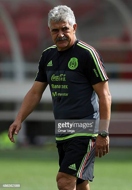 Coach of Mexico Ricardo Ferretti looks on during a Mexico training session at Rio Tinto Stadium on September 03 2015 in Sandy United States