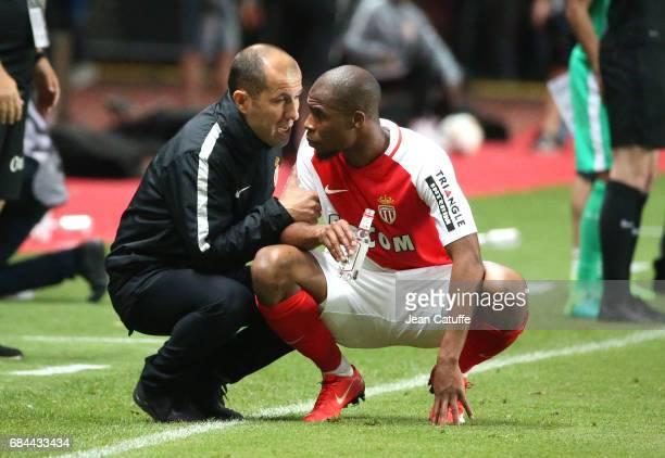 Coach of Monaco Leonardo Jardim and Djibril Sidibe of Monaco during the French Ligue 1 match between AS Monaco and AS SaintEtienne at Stade Louis II...