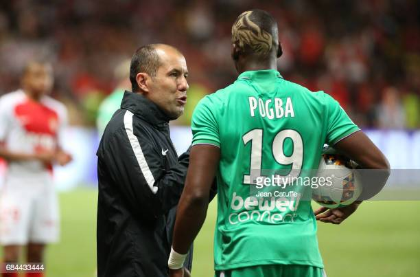 Coach of Monaco Leonardo Jardim and Florentin Pogba of SaintEtienne during the French Ligue 1 match between AS Monaco and AS SaintEtienne at Stade...
