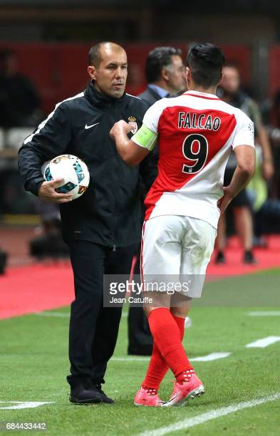 Coach of Monaco Leonardo Jardim and Radamel Falcao of Monaco during the French Ligue 1 match between AS Monaco and AS SaintEtienne at Stade Louis II...