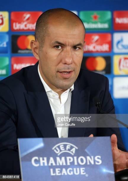 Coach of Monaco Leonardo Jardim answers to the media following the UEFA Champions League group G match between AS Monaco and FC Porto at Stade Louis...