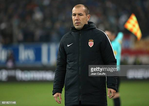 Coach of Monaco Leonardo Jardim gestures during the French Ligue 1 match between Olympique de Marseille and AS Monaco at Stade Velodrome on January...
