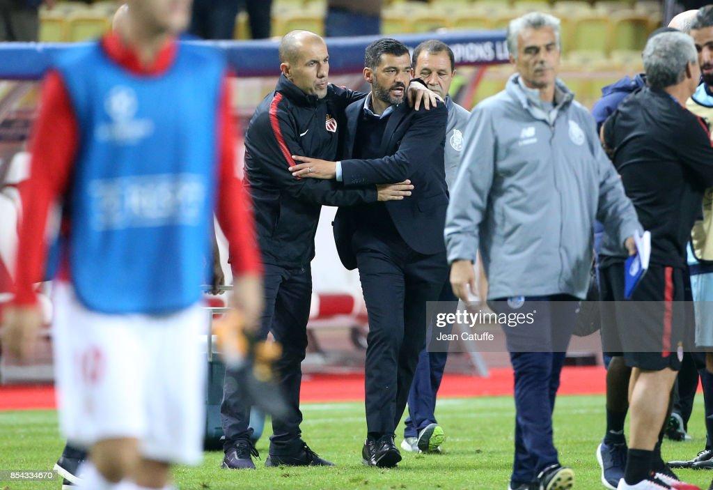 Coach of Monaco Leonardo Jardim greets coach of FC Porto Sergio Conceicao following the UEFA Champions League group G match between AS Monaco and FC Porto at Stade Louis II on September 26, 2017 in Monaco, Monaco.
