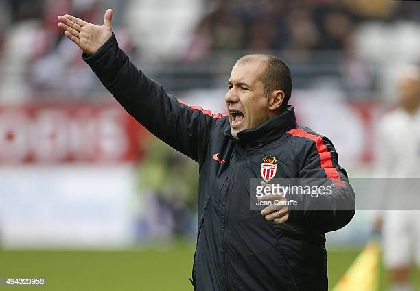 Coach of Monaco Leonardo Jardim reacts during the French Ligue 1 match between Stade de Reims and AS Monaco at Stade Auguste Delaune on October 25...