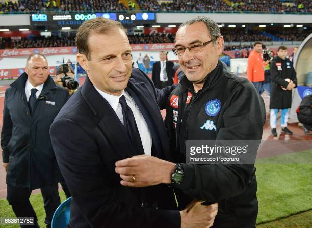 Coach of Napoli Maurizio Sarri greets coach of Juventus FC Massimiliano Allegri during the Serie A match between SSC Napoli and Juventus FC at Stadio...
