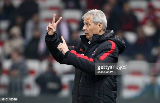Coach of Nice Lucien Favre gestures during the French Ligue 1 match between OGC Nice and Monptellier Herault SC at Allianz Riviera stadium on...