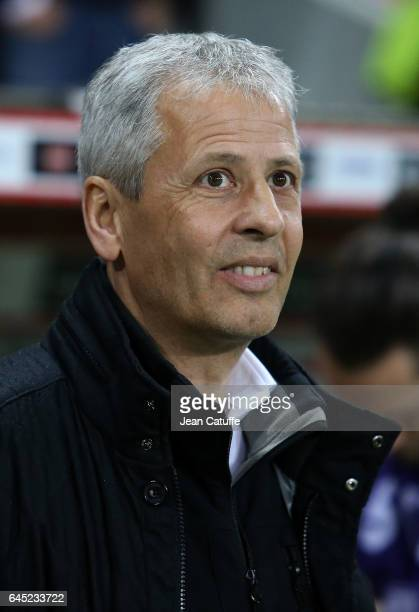 Coach of Nice Lucien Favre looks on during the French Ligue 1 match between OGC Nice and Monptellier Herault SC at Allianz Riviera stadium on...