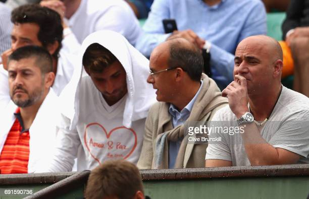 Coach of Novak Djokovic Andre Agassi watches on during the mens singles third round match between Novak Djokovic of Serbia and Diego Schwartzman of...