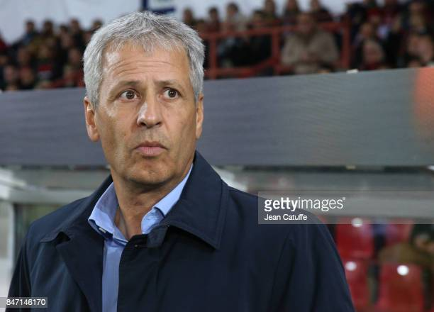Coach of OGC Nice Lucien Favre during the UEFA Europa League match between SV Zulte Waregem and OGC Nice at Regenboogstadion on September 14 2017 in...