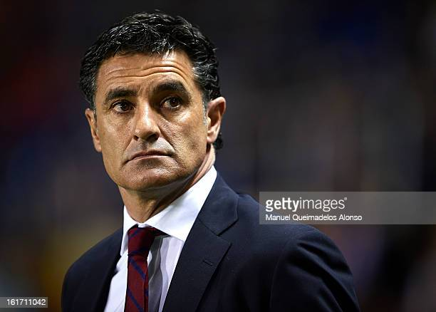 Coach of Olympiacos Miguel Gonzalez Martin 'Michel' looks on prior to the UEFA Europa League round of 32 first leg match between Levante UD and...