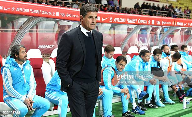 Coach of Olympique de Marseille Jose Miguel Gonzalez Martin del Campo aka Michel looks on during the French Ligue 1 match between AS Monaco and...
